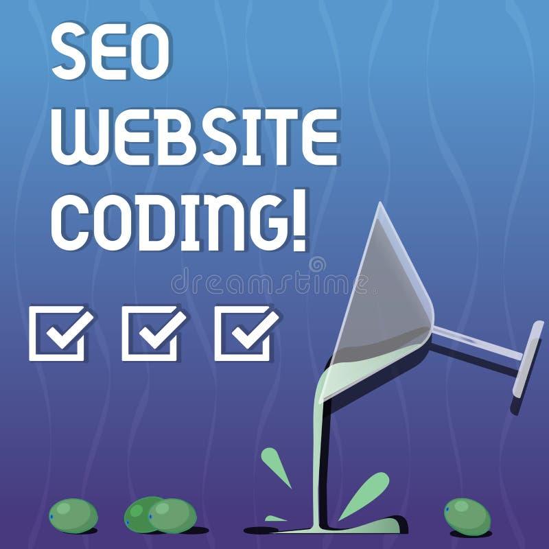Escrevendo a nota que mostra Seo Website Coding Apresentar da foto do negócio cria o local na maneira para fazê-la mais visível a ilustração stock