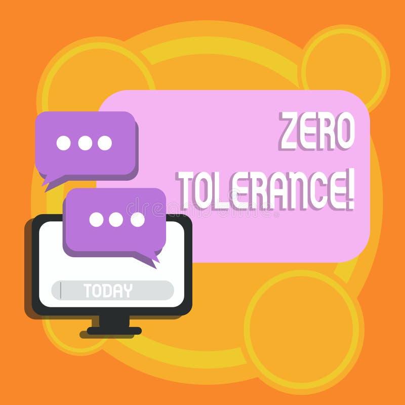 Escrevendo a nota que mostra a tolerância zero Recusa apresentando da foto do negócio para aceitar tipicamente o comportamento  ilustração do vetor