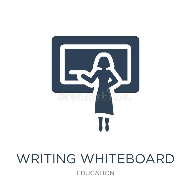 escrevendo o ícone do whiteboard no estilo na moda do projeto escrevendo o ícone do whiteboard isolado no fundo branco escrevendo ilustração stock