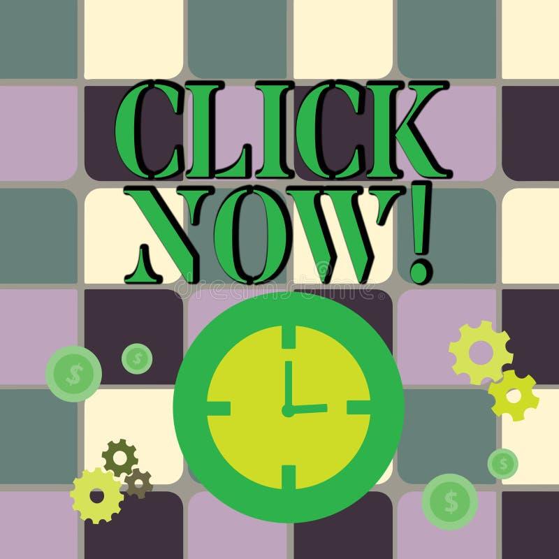 Escrevendo o clique da exibição da nota agora Foto do negócio que apresenta pressionando o botão no dispositivo de controle espec ilustração stock