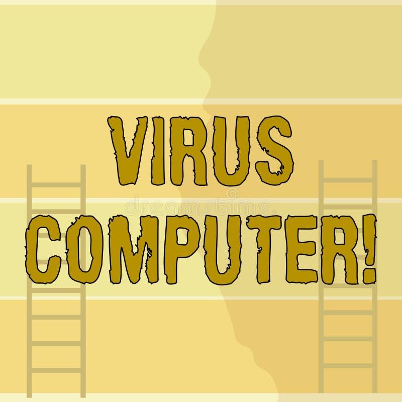 Escrevendo o computador do v?rus da exibi??o da nota A foto do neg?cio que apresenta o programa de software malicioso carregado e ilustração do vetor