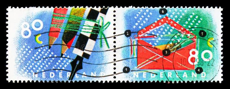 Escrevendo o correio, dez para seu serie das letras, cerca de 1993 imagem de stock royalty free