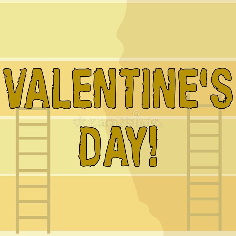 Escrevendo o dia do Valentim S da exibi??o da nota A foto do neg?cio que apresenta o feriado roanalysistic comemorou todos os ano ilustração stock