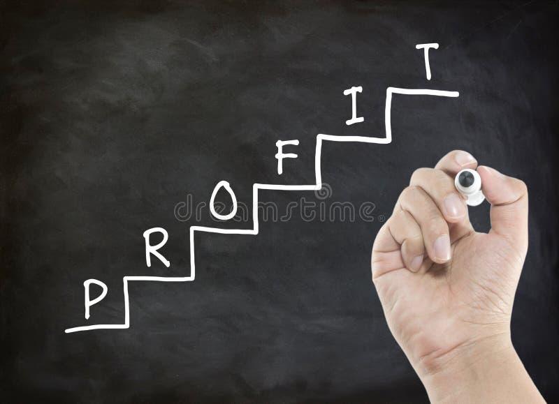 Escrevendo o lucro na escadaria fotos de stock