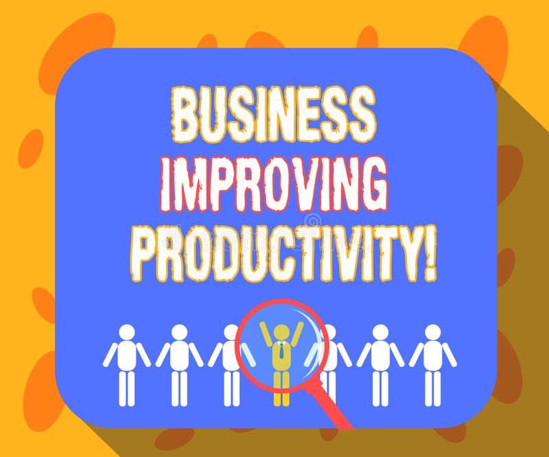 Escrevendo o negócio de exibição da nota que melhora a produtividade Aumento apresentando da foto do negócio da eficiência na pro ilustração royalty free
