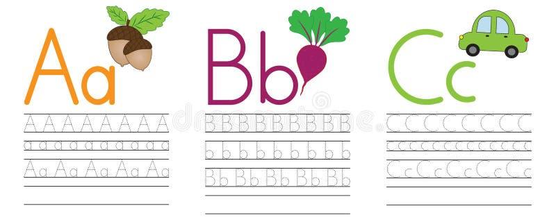 Escrevendo a prática das letras A, B, C Instrução para crianças Vecto ilustração royalty free