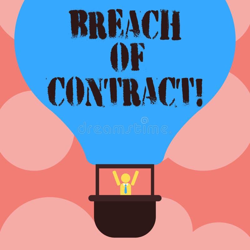 Escrevendo a quebra de contrato da exibição da nota Ato apresentando da foto do negócio de quebrar os termos expostos no negócio  ilustração stock