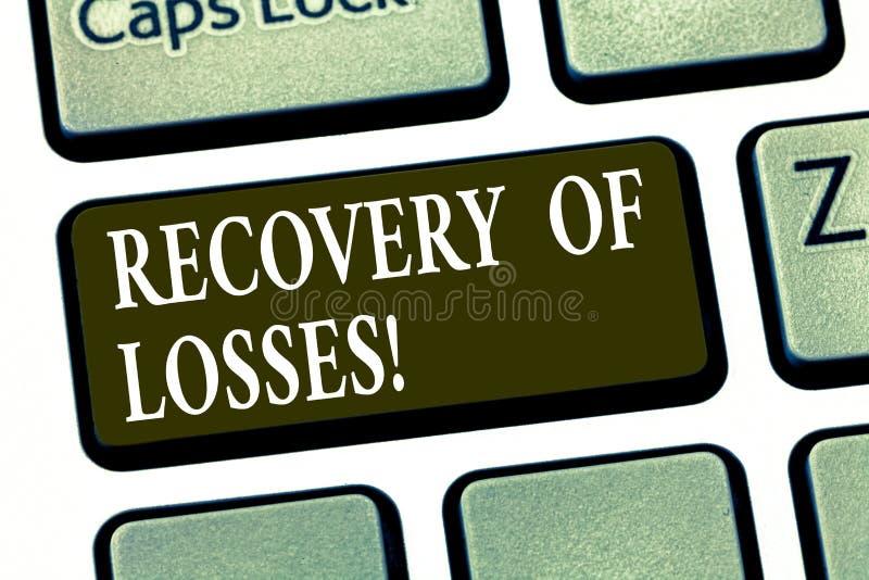 Escrevendo a recuperação da exibição da nota das perdas Foto do negócio que apresenta para obter melhor após ser mal para recuper foto de stock
