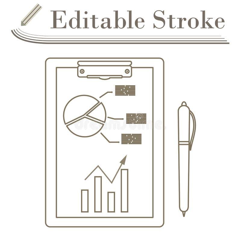 Escrevendo a tabuleta com ícone da carta da analítica ilustração stock