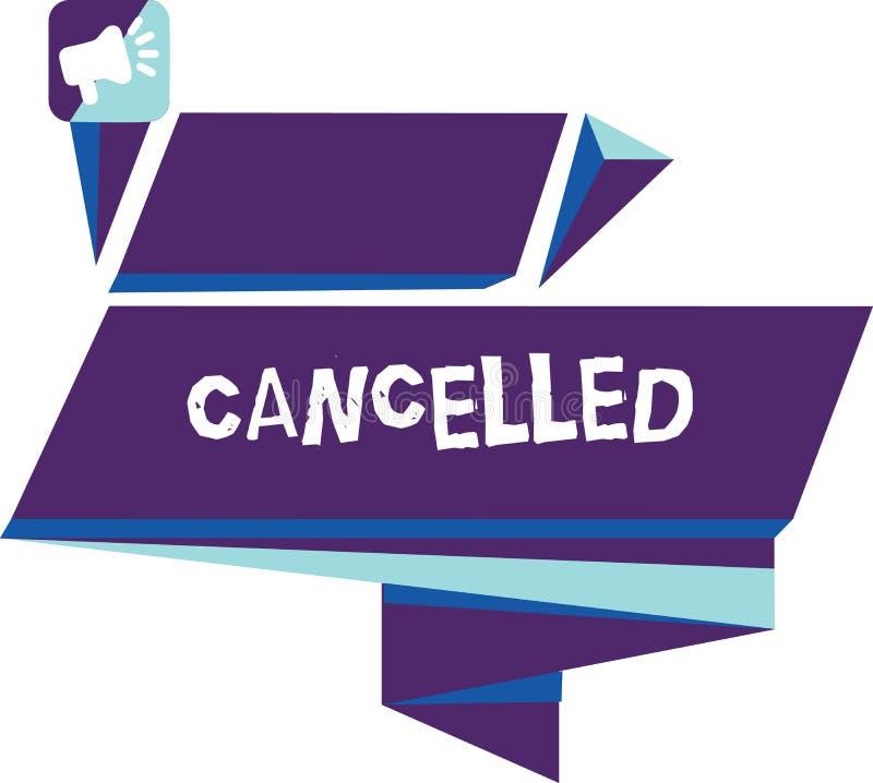 Escrever a exibição da nota cancelou A foto do negócio que apresenta para decidir ou anunciar esse evento de planeamento não ocor fotos de stock