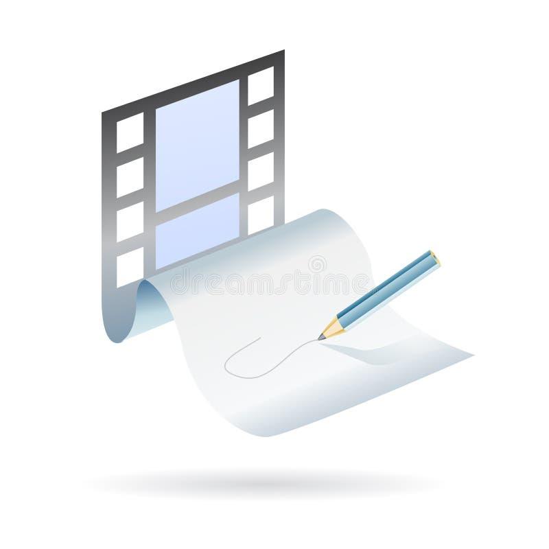 Escriba y cree un diagrama de la película stock de ilustración