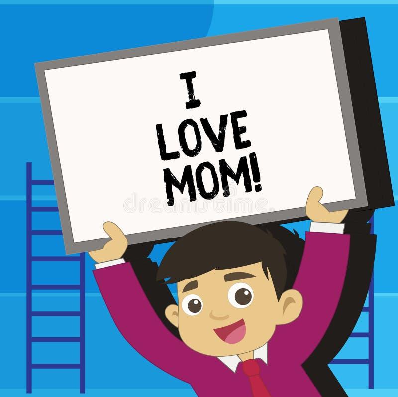 Escribiéndome a demostración de la nota mamá del amor Foto del negocio que muestra buenas sensaciones sobre mi felicidad de amor  stock de ilustración