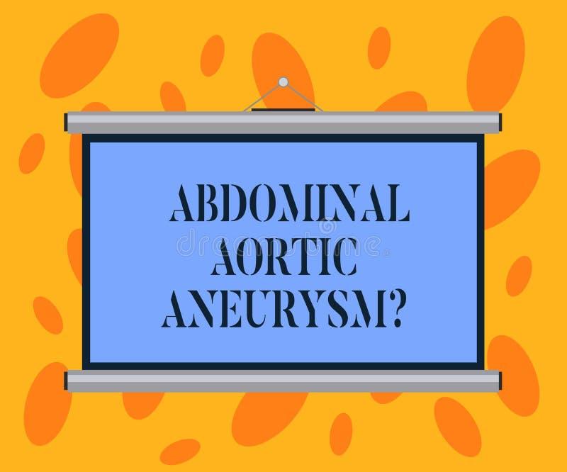 Escribiendo a demostración de la nota Aneurysmquestion aórtico abdominal Familiarización con de exhibición de la foto del negocio stock de ilustración