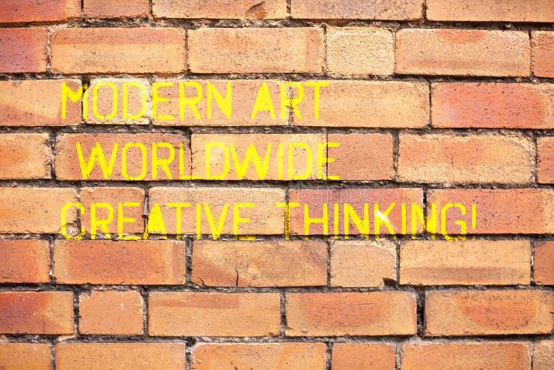 Escribiendo a demostración de la nota Art Worldwide Creative Thinking moderno Expresiones artísticas de exhibición de la creativi foto de archivo libre de regalías