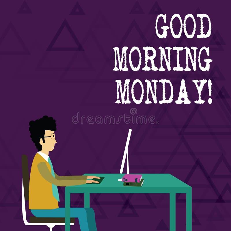 Escribiendo a demostración de la nota la buena mañana lunes Foto del negocio que muestra el desayuno enérgico de la positividad f libre illustration