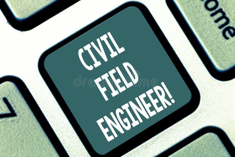 Escribiendo a demostración de la nota el técnico de mantenimiento civil La exhibición de la foto del negocio supervisa la constru stock de ilustración
