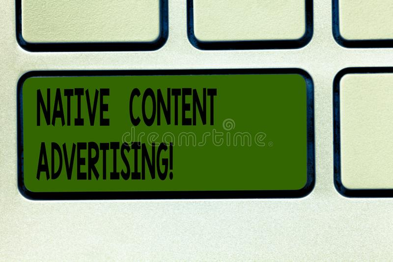 Escribiendo a demostración de la nota la publicidad contenta nativa La experiencia de exhibición del anuncio de la foto del negoc libre illustration