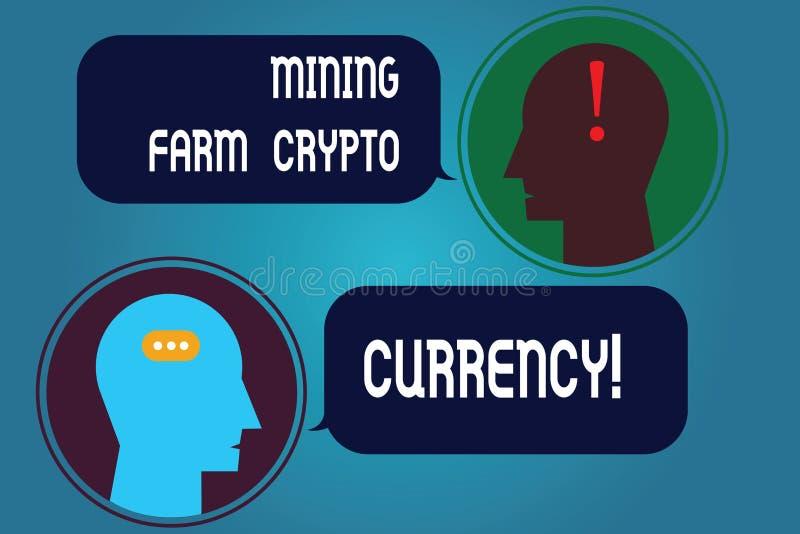 Escribiendo a granja minera de la demostración de la nota moneda Crypto Negocio de dinero digital de exhibición del comercio de l libre illustration