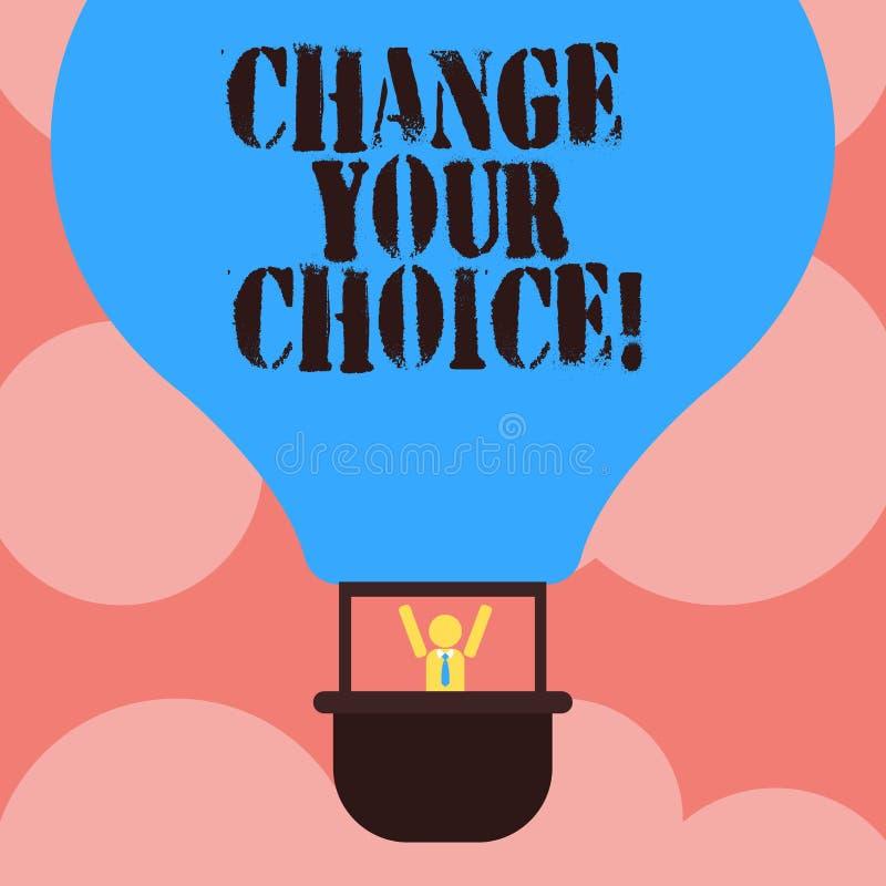 Escribiendo la demostración de la nota cambie su opción Foto del negocio que muestra para mejorar unos hábitos o creencias del co stock de ilustración