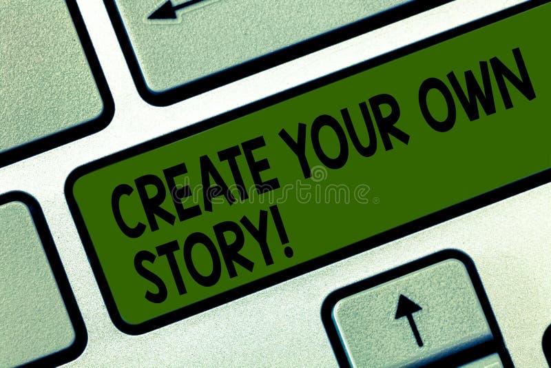 Escribiendo la demostración de la nota cree su propia historia La exhibición de la foto del negocio sea el creador de su destino  fotografía de archivo