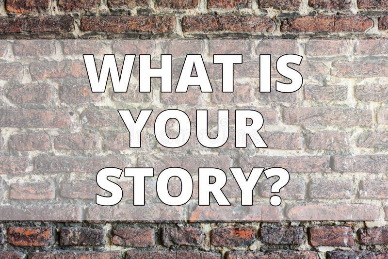 Escribiendo la demostración de la nota cuál es su Storyquestion Foto del negocio que muestra diciendo experiencias anteriores dem fotos de archivo