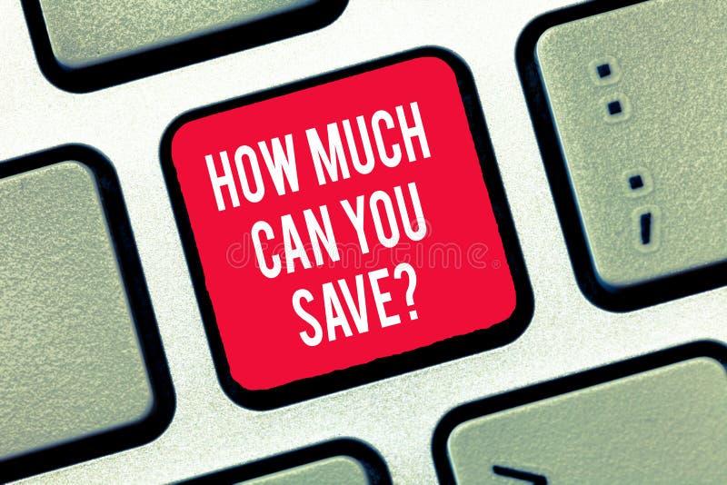 Escribiendo la demostración de la nota cuánto puede usted Savequestion Dinero de exhibición de la foto del negocio disponible par foto de archivo libre de regalías