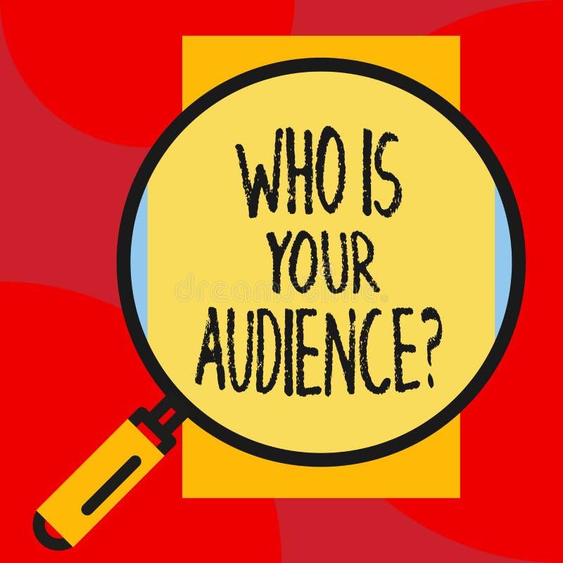 Escribiendo la demostraci?n de la nota que es su pregunta de la audiencia Exhibici?n de la foto del negocio qui?n es de observaci stock de ilustración
