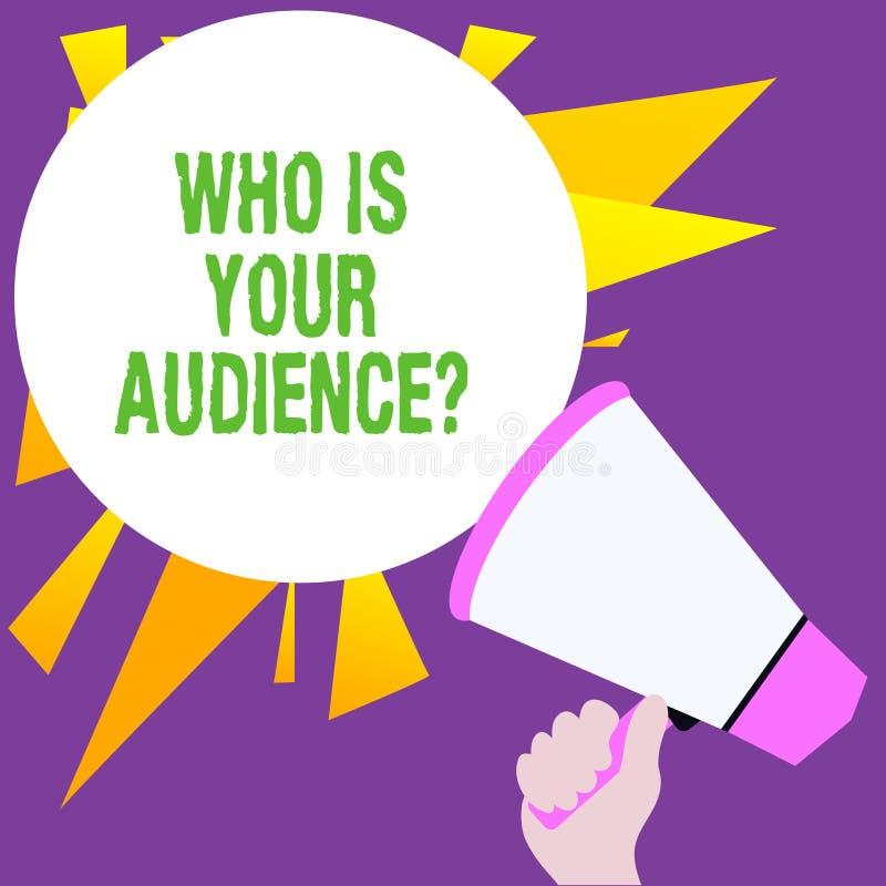Escribiendo la demostraci?n de la nota que es su pregunta de la audiencia Exhibici?n de la foto del negocio qui?n es de observaci ilustración del vector