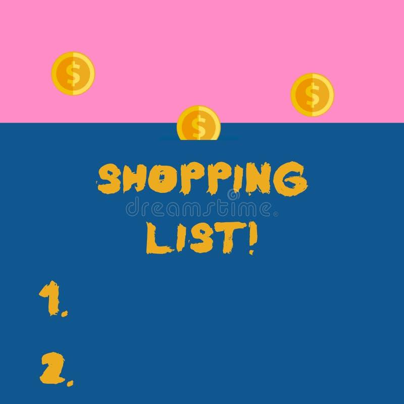 Escribiendo la foto del negocio de la lista de compras de la demostraci?n de la nota que muestra una lista de art?culos que se co ilustración del vector