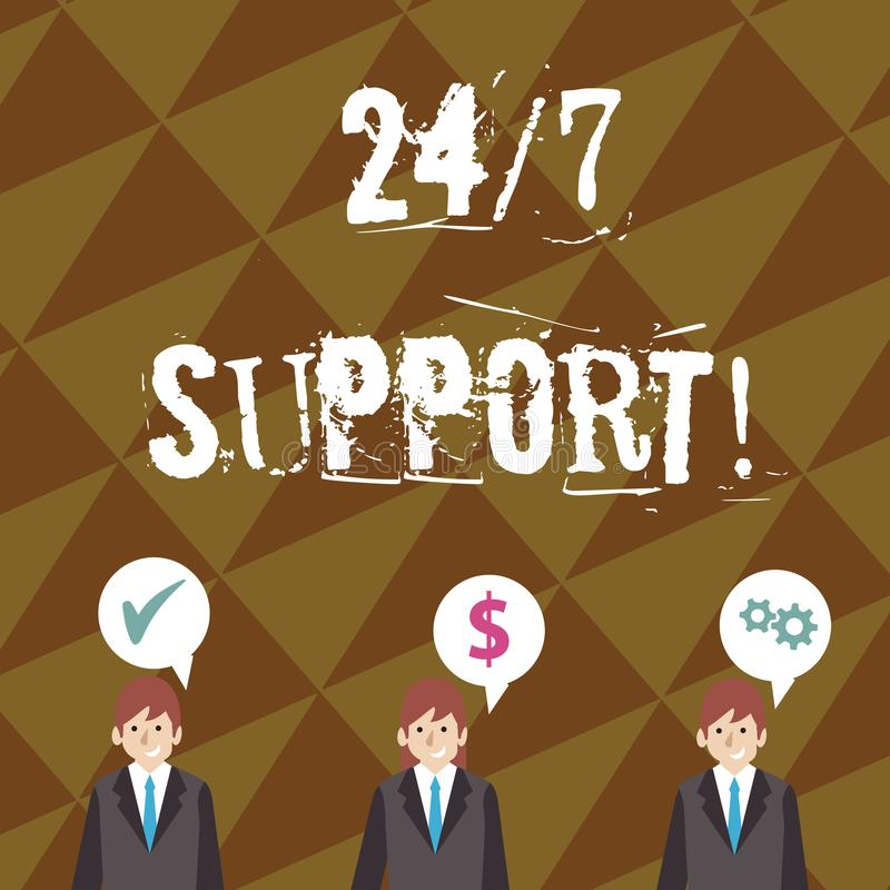 Escribiendo la nota que muestra 24 o 7 ayuda La foto del negocio que muestra veinticuatro horas apoya 7 días a la semana al clien libre illustration