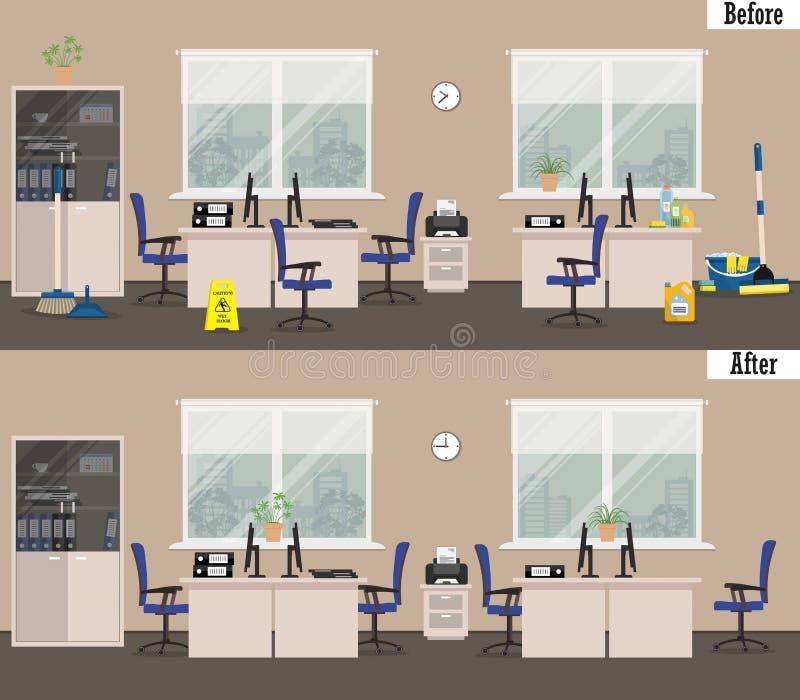 Escritório antes e depois da limpeza ilustração stock