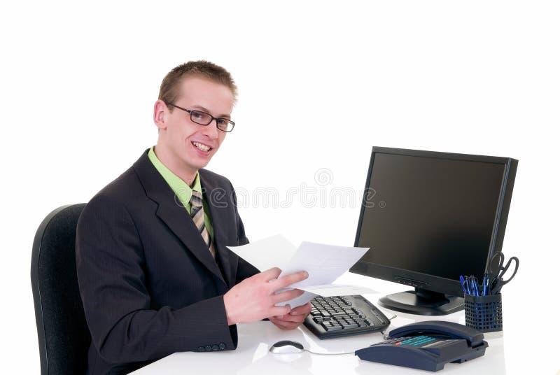 Escritório bem sucedido do homem de negócios foto de stock royalty free