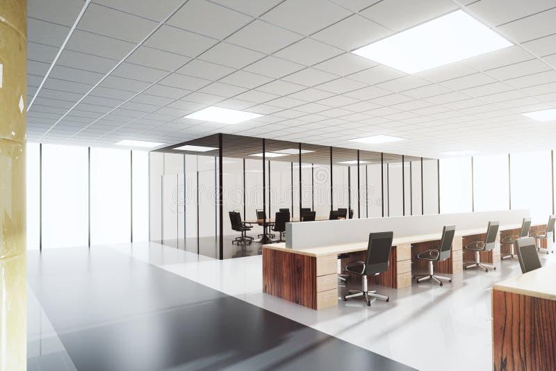 Escritório claro moderno do espaço aberto com sala de conferências imagens de stock royalty free