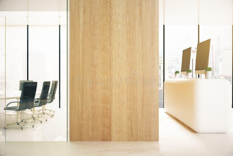 Escritório com a parede de madeira vazia ilustração royalty free