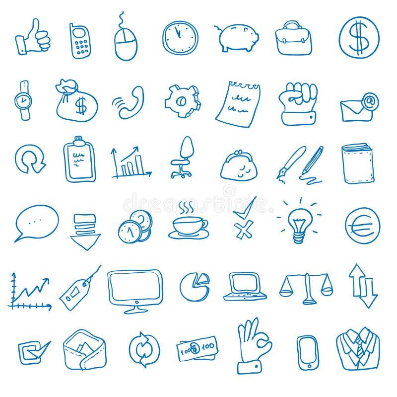 Escritório da garatuja, ícones do negócio ajustados, ilustração do vetor