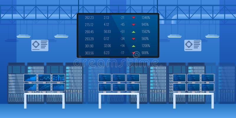 Escritório da monitoração financeira do interior do mercado de valores de ação ilustração do vetor