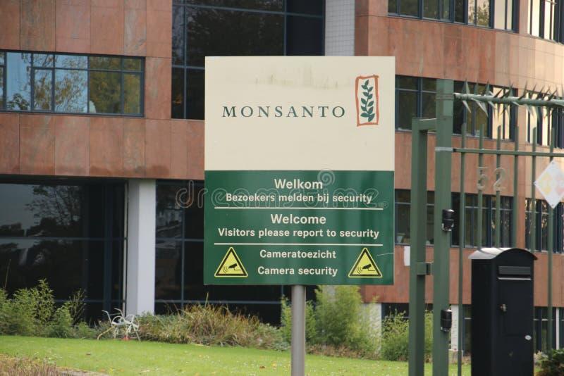 Escritório de Bayer Monsanto em Bergschenhoek perto de muitas estufas nos Países Baixos foto de stock
