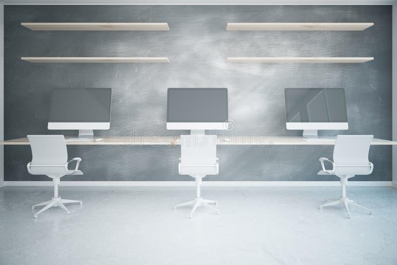 Escritório de Coworking com computadores vazios ilustração royalty free