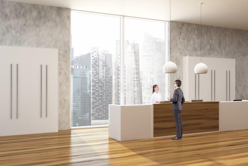 Escritório de madeira e concreto, pessoa lateral da recepção imagens de stock royalty free