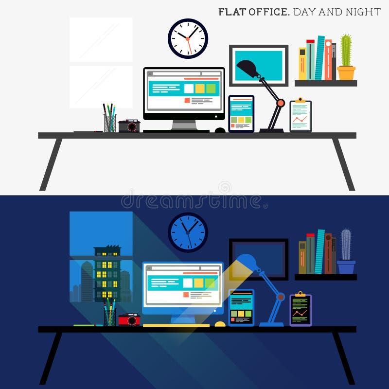 Escritório dia e noite ilustração stock