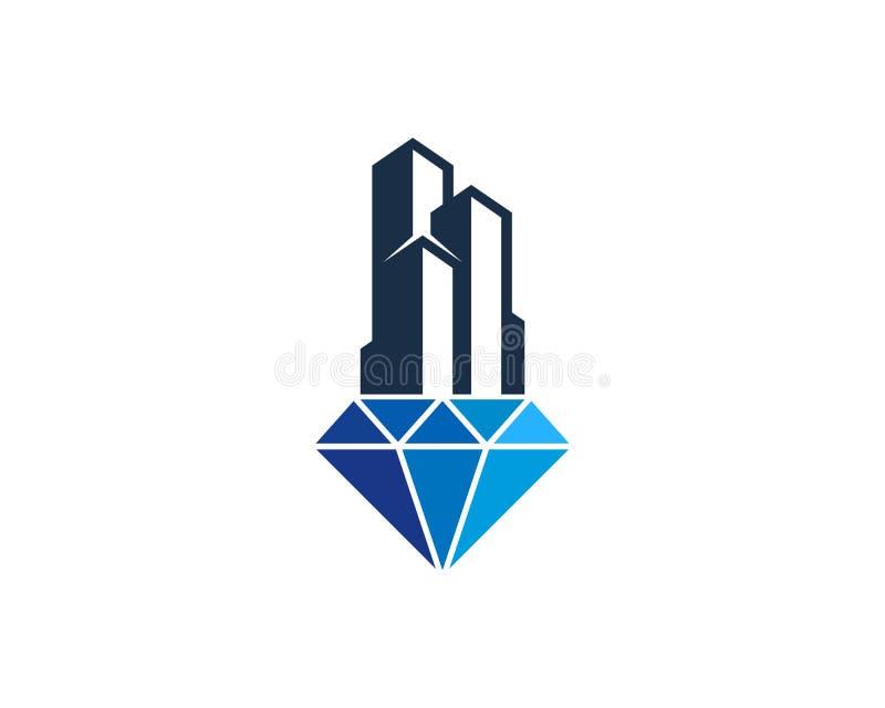 Escritório Diamond Icon Logo Design Element da construção ilustração stock