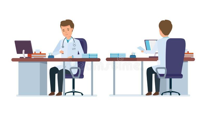 Escritório do ` s do doutor Fronteie, opinião traseira o doutor na sala do tratamento ilustração do vetor