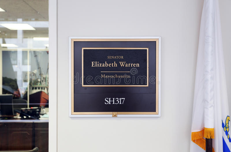 Escritório do senador Elizabeth Warren do Estados Unidos fotografia de stock