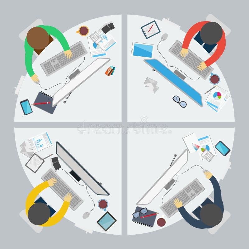 Escritório do trabalho do negócio no estilo liso ilustração stock