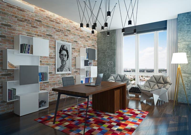 Escritório domiciliário moderno luxuoso. imagens de stock