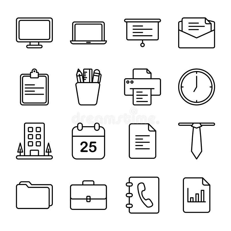 Escritório e ícones relacionados com o mercado ilustração stock