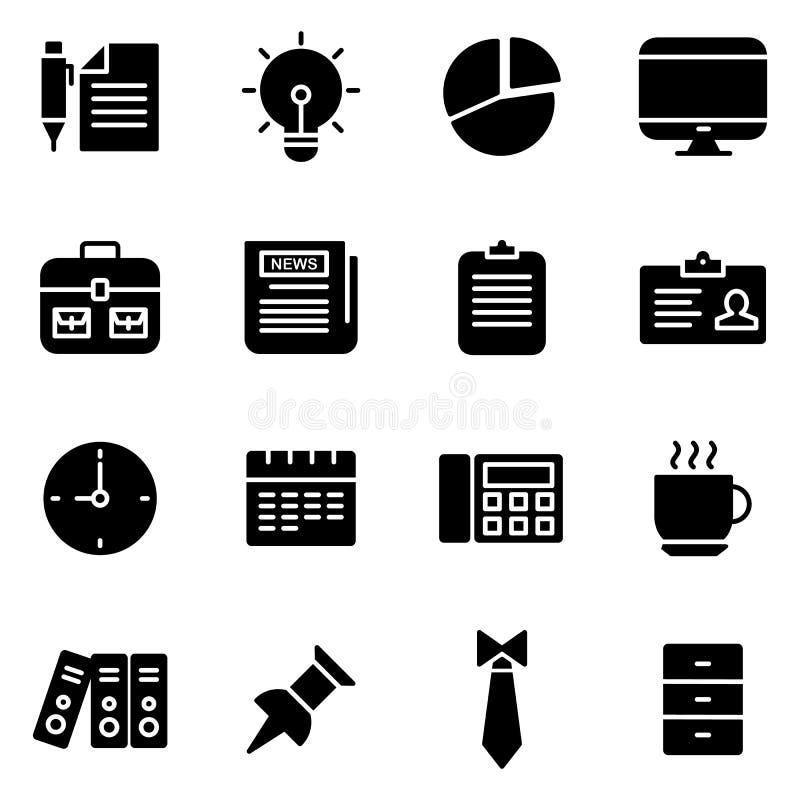Escritório e ícones relacionados com o mercado ilustração do vetor
