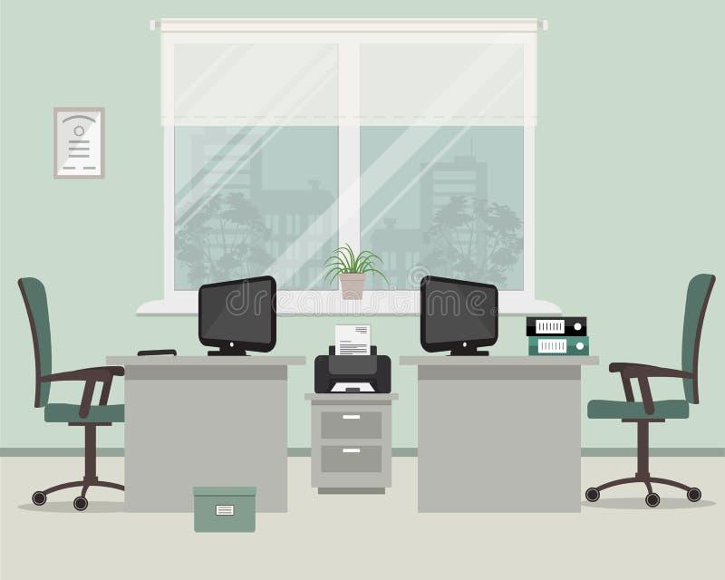 Escritório em uma cor cinzenta Local de trabalho para dois trabalhadores em um fundo da janela ilustração royalty free
