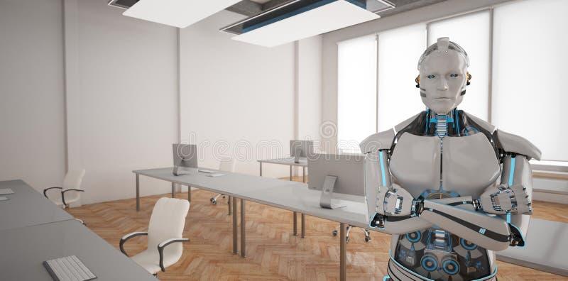 Escritório Humanoid do espaço aberto do robô ilustração royalty free