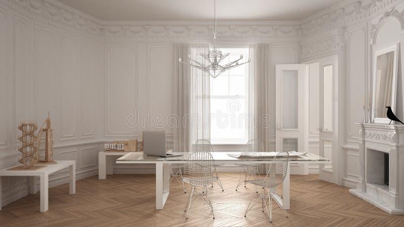 Escritório minimalista moderno na sala clássica do vintage com chaminé, ilustração royalty free